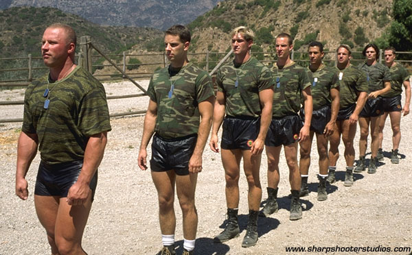 Muscular nude army men